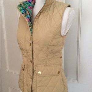 Lilly Pulitzer Getaway Quilted Vest XS Tan/Gold